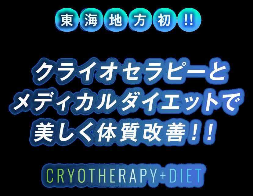 東海地方初!!クライオセラピーとメディカルダイエットで 美しく体質改善!!